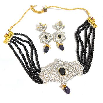 Crystal bead chain with CZ pendant chick collar choker necklace and earring set