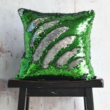 Grass Green & Silver Reversible Sequin Mermaid Pillow - COVER ONLY (Inserts Sold Separately)