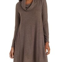 Taupe Sweater Knit Long Sleeve Cowl Neck Dress by Charlotte Russe