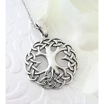 Tree of Life Pendant with Celtic Knot Border