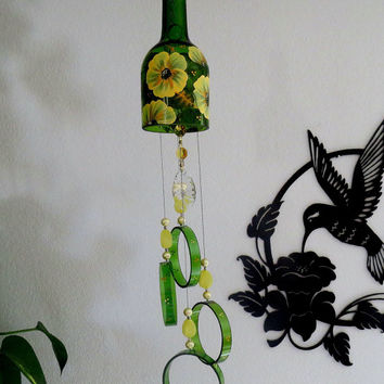 Wine bottle windchime, Green glass wind chime, Yellow  flowers, yard art, patio decor, bottle wind chime, hand painted chime