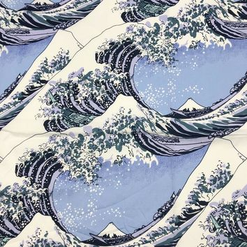 Japanese style table cloth bandanas headbands fan flower carnes cotton Furoshiki 70cm / The Great Wave off Kanagawa