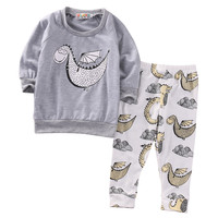 New Toddler Newborn Kids Baby Boy Clothes Set Autumn Long Sleeve Dinosaur T-shirt +Long Print Pants Leggings 2pcs Baby Outfits