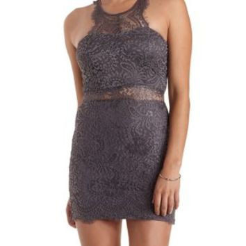 Dark Gray Scalloped Lace Bodycon Dress by Charlotte Russe