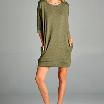 Olive Sweater Dress w Pockets | Lapis & Lace