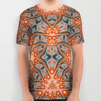Energy Light | Orange & Teal geometry All Over Print Shirt by Webgrrl | Society6