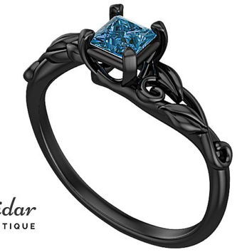 Flower Engagement Ring,Unique Engagement Ring,diamond Engagement Ring,Leaves,Blue Topaz Engagement Ring,lotus,Princess,swirl,Black gold Ring