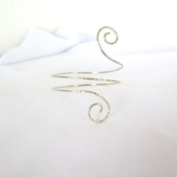 Silver double wrap armlet, spiral upper arm bracelet gift for her
