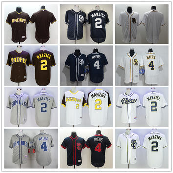 San Diego Padres 2 Johnny Manziel Baseball Jerseys Blue Brown White Gray Embroidery Logos 4 Wil Myers Blank Jersey Accept Mix Orders