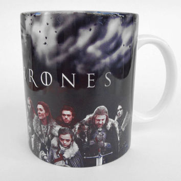 Game of Thrones, Mug Game of Thrones, Winter is Coming, Stark, Eddard Stark, Arya Stark, Daenerys Targaryen, Catelyn Stark, Jaime Lannister
