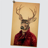 28Design Creative Animal Plate Vintage Kraft Paper Poster Coffee Bar Decorated Counter Adornment Deer Owl Cat Funny Wall Sticker