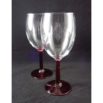 Wine Glasses Ruby Red Stems