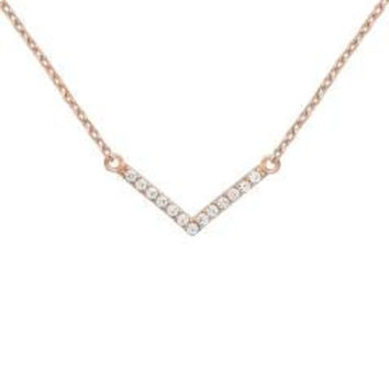 "Sterling Silver Rose Gold Plated """"V"""" Chevron Necklace"