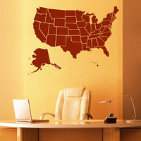 kik2249 Wall Decal Sticker USA Map all states living room bedroom office