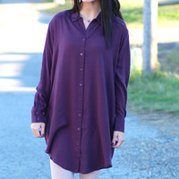 My Boyfriends Button Down Shirt Dress {Eggplant}