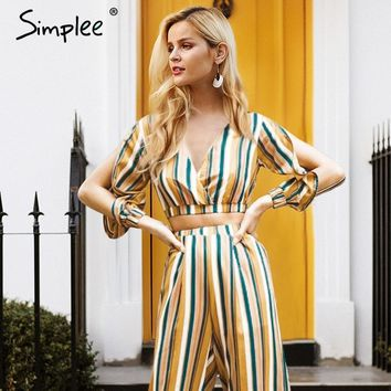 Simplee Sexy v neck striped blouse shirt women Cropped long sleeve casual blouse Vintage 2018 summer tops blusas chemise femme