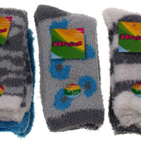 6 Pairs Fuzzy Crew Socks Krazisox Gray White Blue Cozy Womens Size 4-10 Stripes