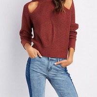 Shaker Stitch Cut-Out Sweater