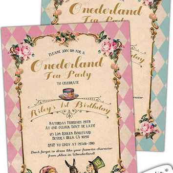 Alice in Wonderland First Birthday invitation. Onederland. Tea Party. Mad hatter. Shabby Chic. Unbirthday. Pink. Blue. Custom.