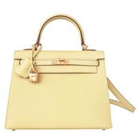 Hermes 25cm Jaune Poussin Sellier Epsom Kelly Yellow Gold Mini Jewel
