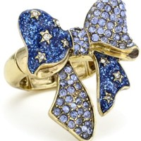 Betsey Johnson Crystal Bow Stretch Ring, Size 7.5
