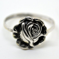 Handforged Silver Rose Ring, Silver Flower Ring, Womens Jewelry, Floral Jewelry, Rings for Women