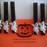 Spooky Ghosts Halloween Clothespins, Halloween Clothes Pins, Ghosts, Halloween Party Decorations,Halloween Magnets,Costumes, Spooktacular