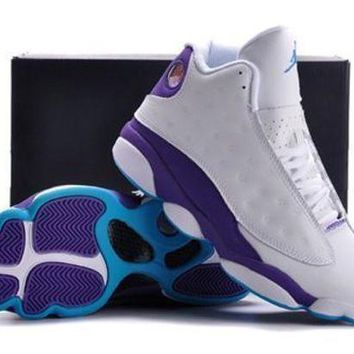 Cheap Air Jordans 13 Retro Men Shoes White Purple Blue