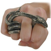 Adder Bite Alchemy Gothic Snake Ring - size 11
