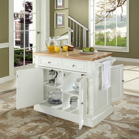 Butcher Block/Cutting Board Top Kitchen Island In White Finish