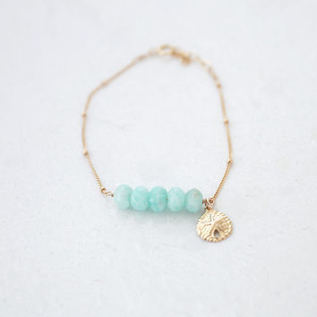 Amazonite and Gold Sand Dollar Bracelet