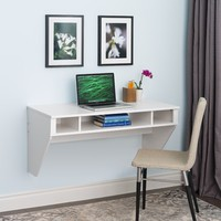 Prepac Designer Floating Desk in White