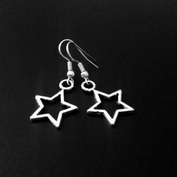 Star Earrings, Silver Star Charm, Witchy Jewelry, Grunge Jewelry, Minimalist Jewelry, 90s Jewelry, Space Jewelry, Tumblr Jewelry