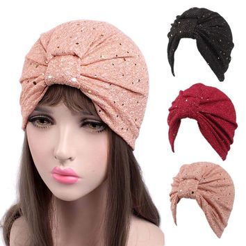 Women Sequins Cancer Chemo Hat Beanie Scarf Turban Head Wrap Cap touca inverno  Beanies Balaclava Womens Skullies
