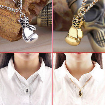 Fashion Men's Women's Stainless Steel Boxing Glove Pendant Necklace Chain HU