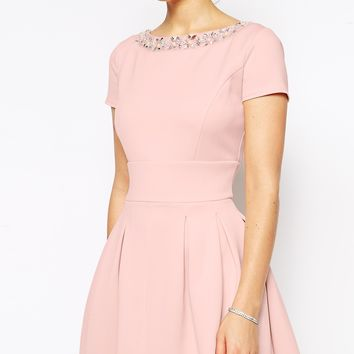 ASOS Embellished Neck Trim Midi Dress