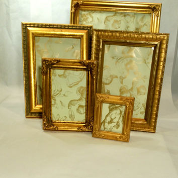 Shabby Chic Gold Picture Frame Set 5 Ornate Gold Frames for Tabletop Standing Easel Back Fancy Picture Frames 8x10 5x7 and More