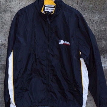 Vintage TOMMY HILFIGER Sport Athletics SPELLOUT Windbreaker Jacket Coat L 90s Rare