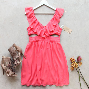 Dust & Bloom Dress in Coral