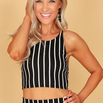 Striped Lace Up Crop Tank Black