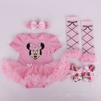 In Stock! Baby Girls Cartoon Sets, kid bow headband+tutu romper+ stocking + shoes 4pcs christmas suits RETAIL d205