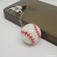 1pc Hanging Resin Tennis Mobile Headphone Antidust Plug Charm for iPhone 5 & 4,Samsung S4, S3, Nokia, HTC