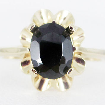 Black CZ 14k Yellow Gold Oval Crown Ring, Solid 14 Karat Gold Ring, 14k Gold Black CZ Ring, 14k Gold Ring