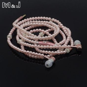 Fancy Pearl Necklace Earphones