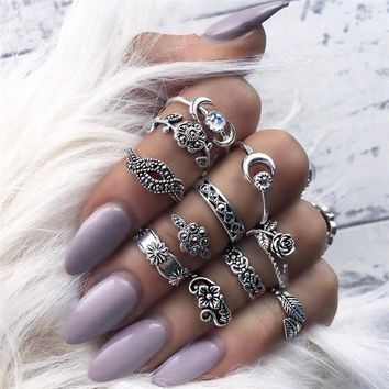 11 Pieces Silver Stack Bohemian Above Knuckle Rings