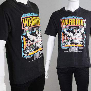 Super Rare Vintage 1989 Ultimate Warrior T Shirt WWE Wrestling Shirt wwf Wrestling Pro Wrestling Retro Sportswear Wrestlemania Graphic Print