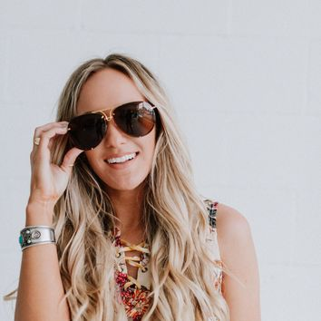 High Vibe Studded Tinted Aviator Sunglasses - Brown