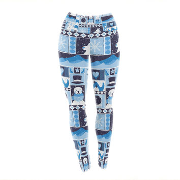 "Tobe Fonseca ""Winter"" Blue Seasonal Yoga Leggings"