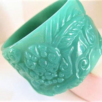 Green Bangle, Wide Carved, Deeply Carved Translucent,  Trending Lucite Bracelet