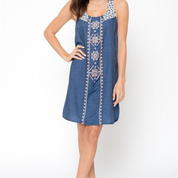 Chambray Embroidered Daisy Dress